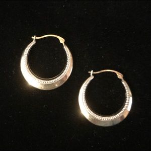 Vintage Israel 925 Silver Small Hoop Earrings